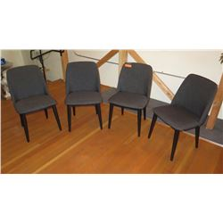 "4 Gray Upholstered Side Chairs 33""H (back) 18""H (seat)"