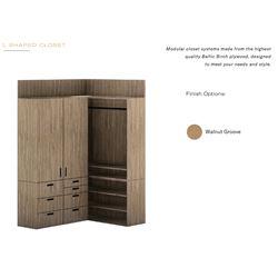 L-Shape Modular Closet, Baltic Birch Plywood, Unassembled