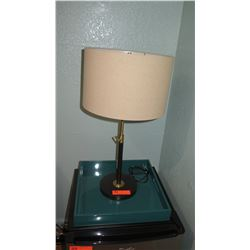 """Lamp and Blue Wooden Tray 26"""" H"""