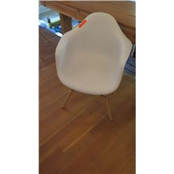 Minimalist Composite Chair w/Wooden Legs (32  back height, 16  seat height)
