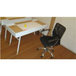 Compact Two-Toned Desk w/Hideaway Compartments & Charging Ports. Includes Office Chair