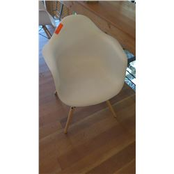 """Minimalist Composite Chair w/Wooden Legs (32"""" back height, 16"""" seat height)"""