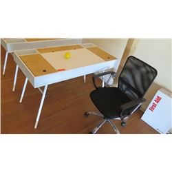 "Compact Two-Toned Desk w/Hideaway Compartments & Charging Ports. Includes Office Chair 47.5""L x 23.5"