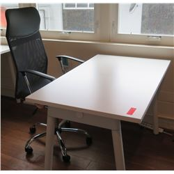 White Compact Desk w/ Office Chair 47 L x 27 W x 29 H