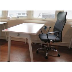 "White Compact Desk w/ Office Chair 47""L x 27""W x 29""H"