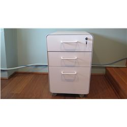 "White Lacquered Filing Cabinet Unit w/Storage Drawers, Lockable 16""W x 20""D x 25.5""H"