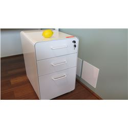 White Lacquered Filing Cabinet Unit w/Storage Drawers, Lockable