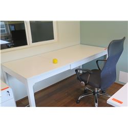 "White Minimalist Desk (Length Extendable) w/Chair, Desk max length 71"", 31.5"" D, 29.5"" H"