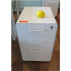 White Lacquered Filing Cabinet Unit w/Storage Drawers, Lockable 16 W x 20 D x 25.5 H