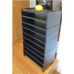 "Qty 5 Black Stackable Organizer Trays 17""L x 9.5""D x 29.5""H"