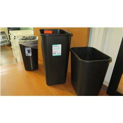Qty 3 Plastic Waste Receptacles, Various Sizes