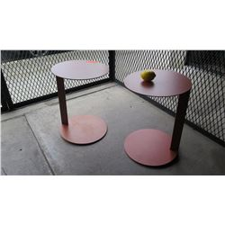 Pair of Circular Burnt Orange  Side Tables (one discolored, faded areas), 60  Dia, 21.5 H