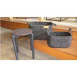 Mini Planter Stand & 2 Woven Baskets