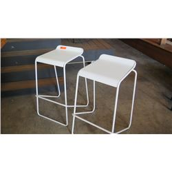 Pair: White Bar Chairs, Metal Frame, Wooden Seats 15 W x 17 D x 30.5 H