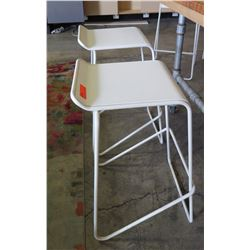 Pair: White Bar Chairs, Metal Frame, Wooden Seats