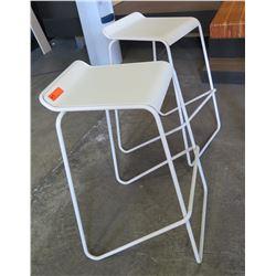 Pair: White Bar Chairs, Metal Frame, Wooden Seats