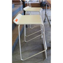 "Pair: White Bar Chairs, Metal Frame, Wooden Seats 15""W x 17""D x 30.5""H"