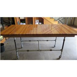 Custom Rolling Table w/Industrial Pipe Base, Glazed Wood Top