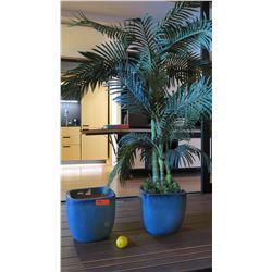 Large Faux Palm Tree & 2 Glazed Ceramic Planters