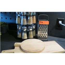 Spice Set, Grater, 2 Wooden Cutting Boards (was used only in staging)