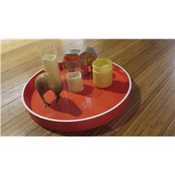 Interior Accent Décor: Orange Lacquer Tray, Flameless Candles, Elephant, Wooden Bird