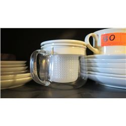 White Dishware: Plates, Mugs, Teapot w/Strainer (was used only in staging)