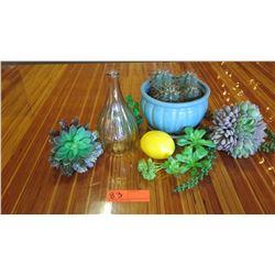Faux Succulents, Blue Ceramic Planter, Tapered Vase