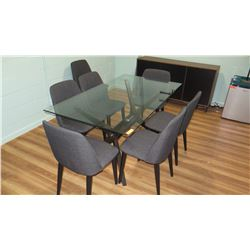 "Glass Table (63""x25""x30""H) w/ Upholstered Gray Chairs"