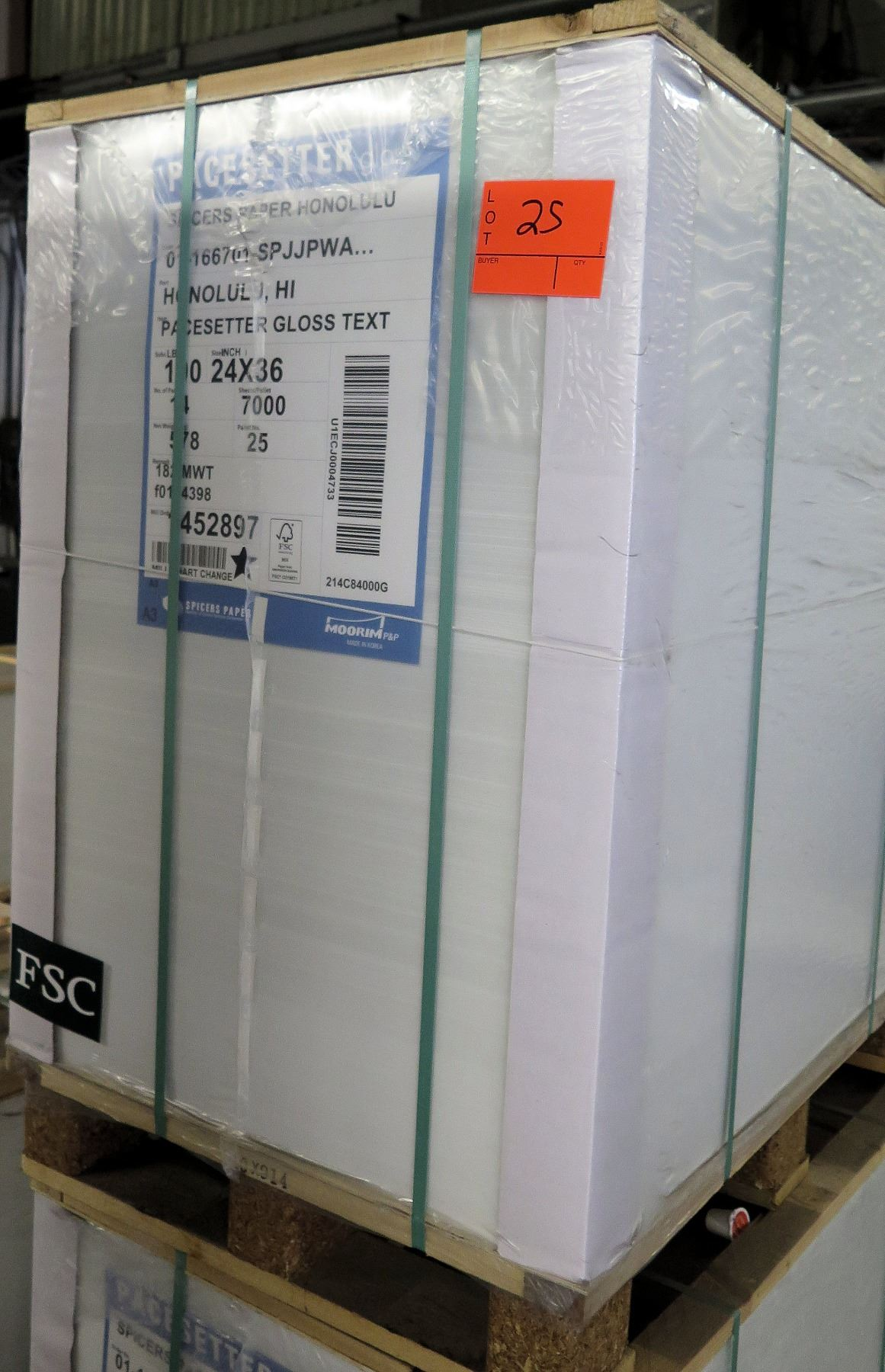 Qty 1 Pallet Pacesetter 24 x 36 Gloss Text Paper 7000 Sheets - Oahu