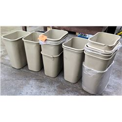 Qty 4 Gray Rectangle Plastic Office Waste Baskets Trash Cans