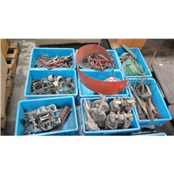 Qty 8 Bins Misc Fittings - Pulley, Gear Pullers, Binders, Valves, etc