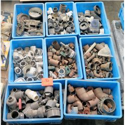 Qty 8 Bins Misc Plastic & Copper Fittings - Elbows, Couplings, etc