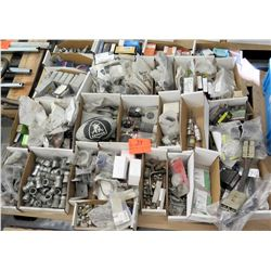Misc Boxes of Connectors, Chains, Bearings, etc & Raiders Football