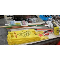 Misc Cleaning Supplies - Wet Floor Signs, Mops, Brooms, etc