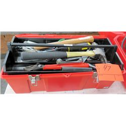 Tool Box w/ Hammers, Crescent Wrench, Tin Snips, Sockets, etc