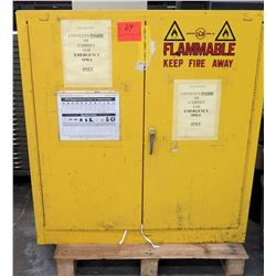 Yellow Metal Storage Cabinet for Flammable, Spills w/ HazMat Contents