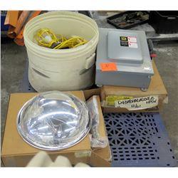 Breaker Switch Box, Bucket of Lights & Round Light