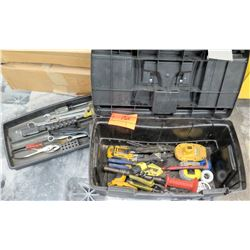 Plastic Tool Box w/ Open End Wrenches, Plyers, Misc Hand Tools