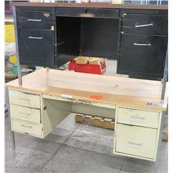 Qty 2 Metal Shop Desks - 1 White & 1 Black w/ Drawers