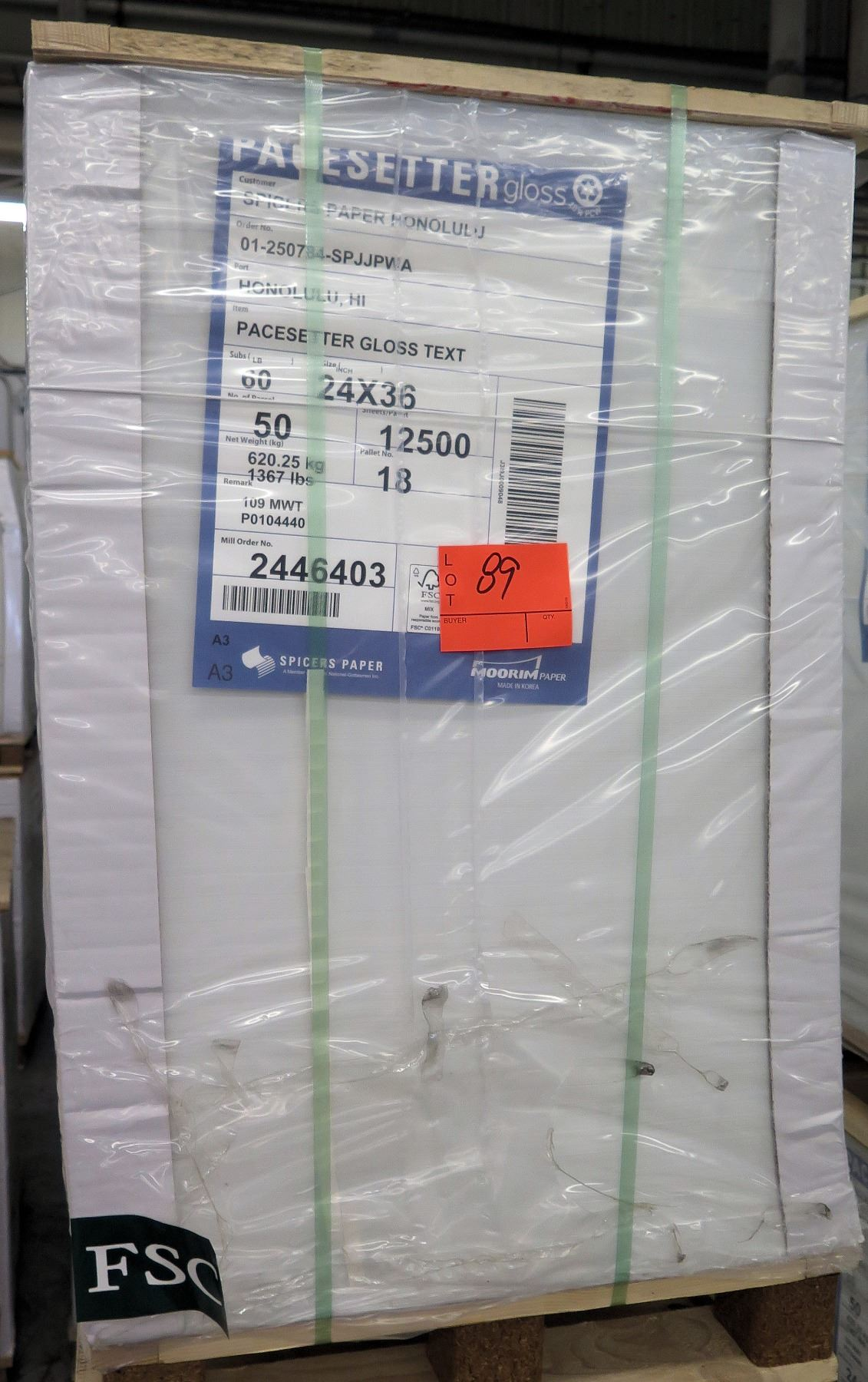 Qty 1 Pallet Pacesetter 24 x 36 Gloss Text Paper 12,500 Sheets