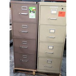 Qty 2 Four Drawer File Cabinets - 1 Beige/1 Light Brown