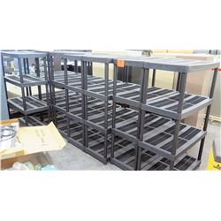 Qty 8 Black Plastic Slatted Shelving Pieces