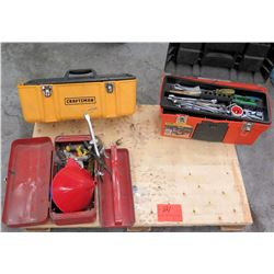 Qty 3 Tool Boxes w/ Misc Tools - Socket Wrenches, Funnel, Misc Tools