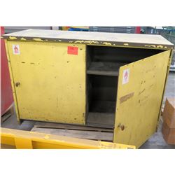 Metal Yellow Metal Cabinet w/ 2 Shelves for Flammable Solvents