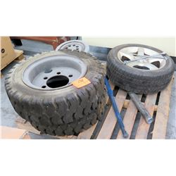 Qty 2 Tuff Dawg Tires on Rims, Nissan Rapt Tire, Misc Rim & Tire Iron