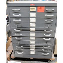 Foster Printing Equipment 11 Drawer Blueprint File Cabinet w/ Contents