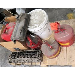 Qty 4 Metal & Plastic Gas Cans, Engine Head, etc