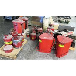 Qty 15 Misc Sizes Red Metal Gas Cans & Oily Waste Cans