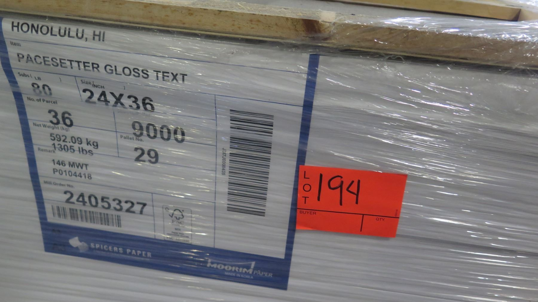 Qty 2 Pallets Pacesetter Gloss Text 24 x 36 & 28 x 40 Paper - Oahu