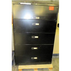 Black Metal 5 Drawer Standing Lateral Legal Filing Cabinets